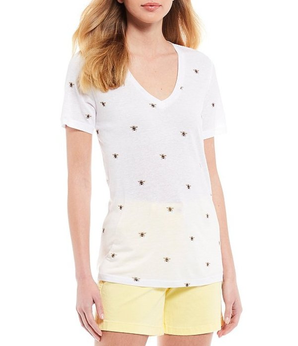 ジュールズ レディース Tシャツ トップス Lola V-Neck Short Sleeve Bee Print Knit Linen Blend Top White Bee