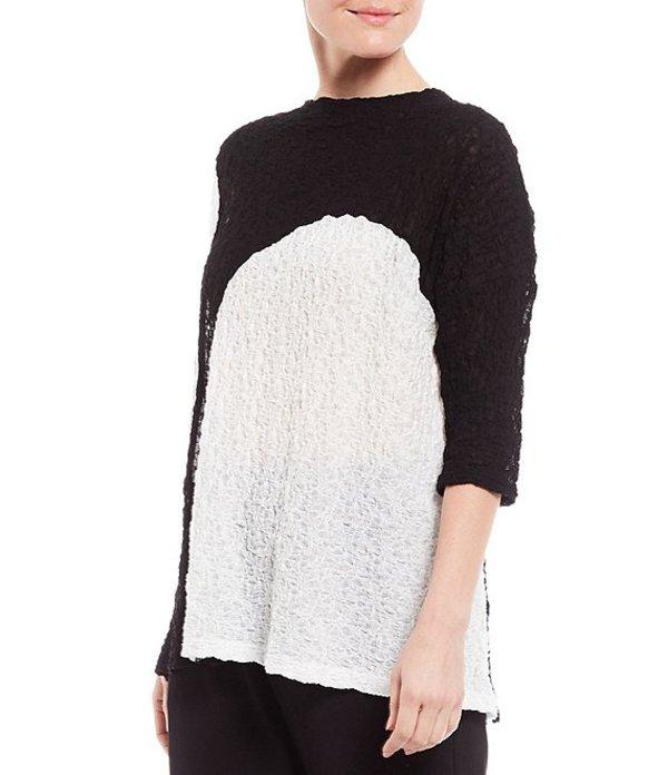 アイシーコレクション レディース Tシャツ トップス Pucker Dot Contrast Elastic Lace Cotton Blend Top Black/White