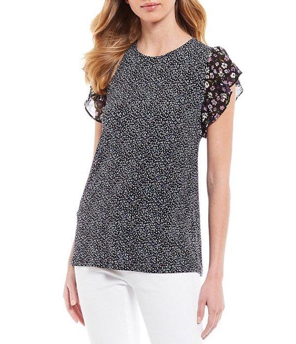 マイケルコース レディース Tシャツ トップス MICHAEL Michael Kors Boutique Bloom Print Lux Matte Jersey Flutter Sleeve Top Orchid Haze