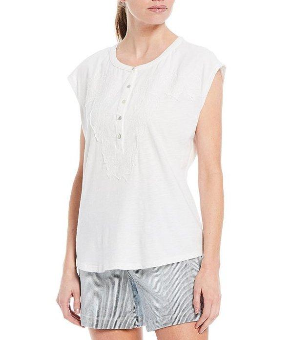 ウエストバウンド レディース Tシャツ トップス Cap Sleeve Mix Media Embroidered Cotton Blend Tee Cream