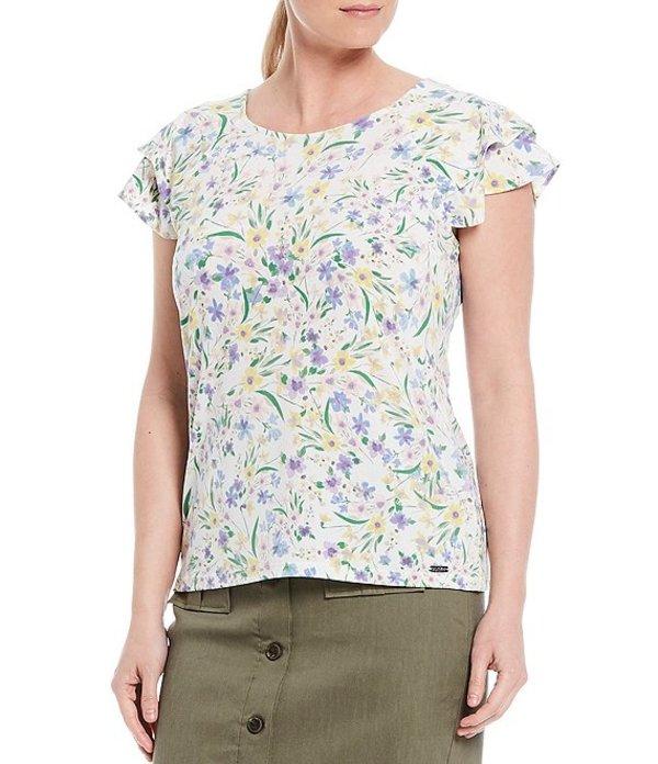 カルバンクライン レディース Tシャツ トップス Swirled Ditsy Floral Print Matte Jersey Double Ruffle Short Sleeve Top White Multi