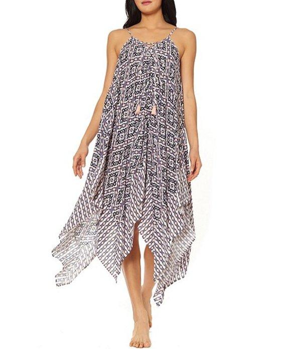 ジェシカシンプソン レディース ワンピース トップス Venice Beach Geometric Print Lace Front Handkerchief Hem Dress Cover Up Dark Multi