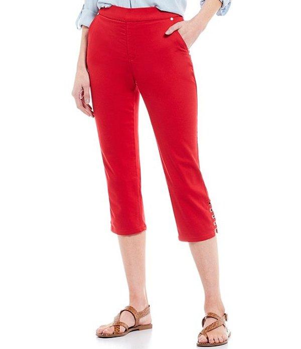 イントロ レディース カジュアルパンツ ボトムス Rose Metal Ring Trim Hem Details Pull-On Stretch Denim Capri Pant Scarlet Ruby