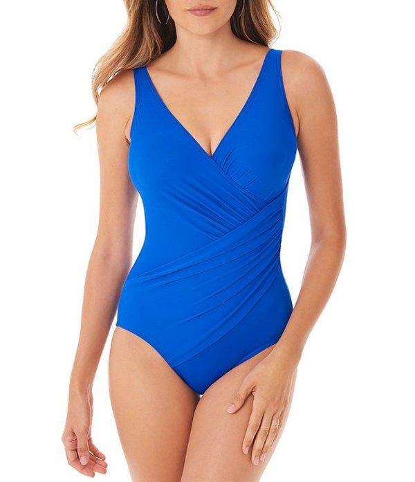 ミラクルスーツ レディース ワンピース トップス Solid Oceanus Ruched Side Detail Plunge V-Neck One Piece Swimsuit Delphine Blue