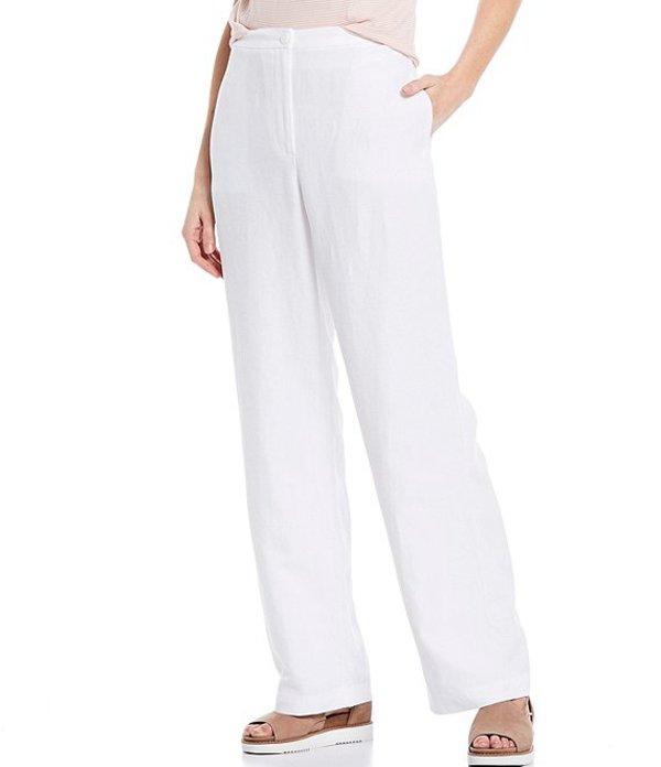 エイリーンフィッシャー レディース カジュアルパンツ ボトムス Tencel Organic Linen Blend Slub Straight Full Length Pant White