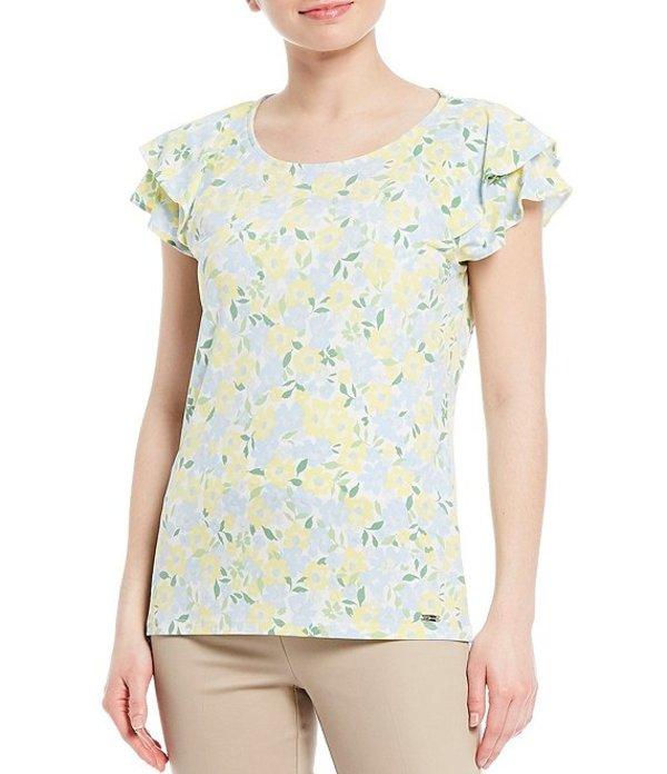 カルバンクライン レディース Tシャツ トップス Ditsy Floral Print Matte Jersey Double Ruffle Short Sleeve Top Cashmere Combo