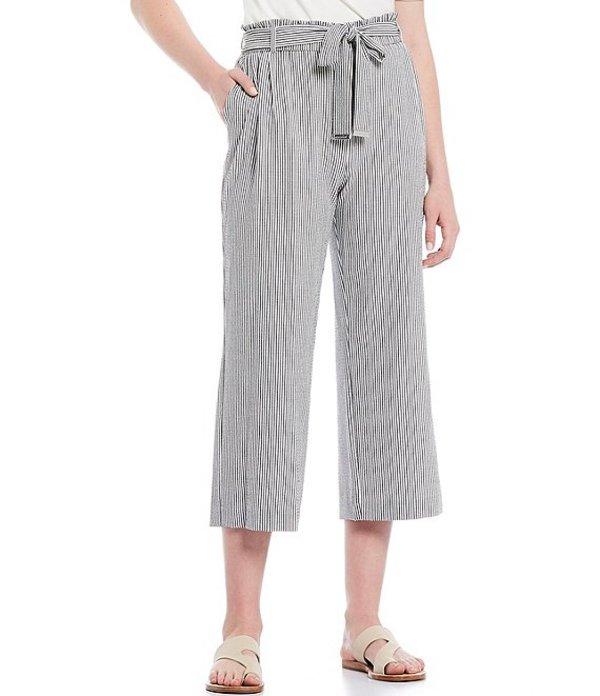 カルバンクライン レディース カジュアルパンツ ボトムス Seersucker Stripe Paperbag Belted Waist Cropped Wide-Leg Pant Black/White Combo