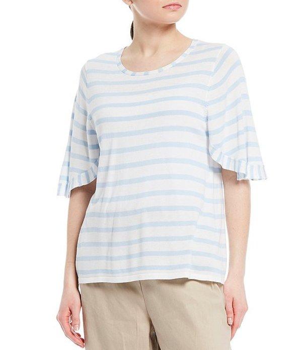 カルバンクライン レディース Tシャツ トップス Contrast Stripe Fine Gauge Knit Short Flutter Sleeve Top Cashmere Blue/White