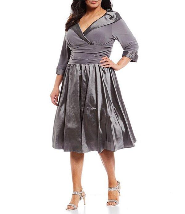 ジェシカハワード レディース ワンピース トップス Plus Portrait-Collar Dress Silver Grey