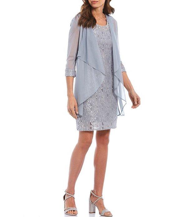 アールアンドエムリチャーズ レディース ワンピース トップス Petite Size Beaded-Neck Lace 2-Piece Glitter Jacket Dress Silver