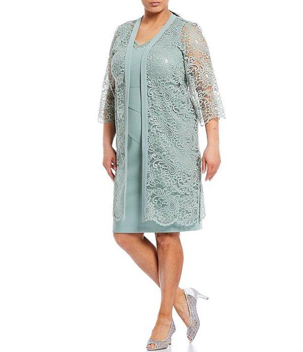 ルボ レディース ワンピース トップス Plus Size 2-Pice Lace Jacket Dress Sage