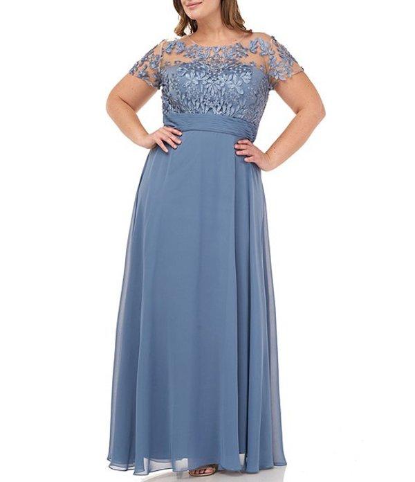 ジェイエスコレクションズ レディース ワンピース トップス Plus Size Illusion Beaded Bodice Short Sleeve A-Line Chiffon Gown Mineral Blue