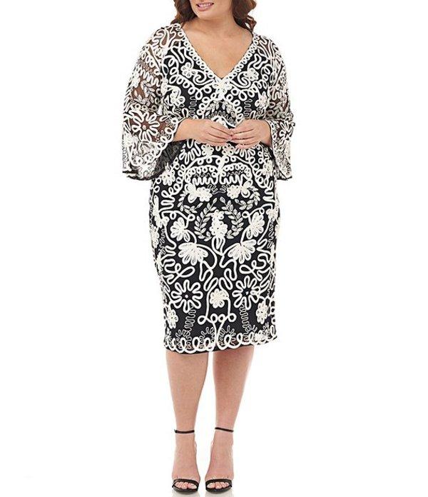 ジェイエスコレクションズ レディース ワンピース トップス Plus Size Beaded Sequin Soutache Bell Sleeve Midi Length Sheath Dress Ivory/Black