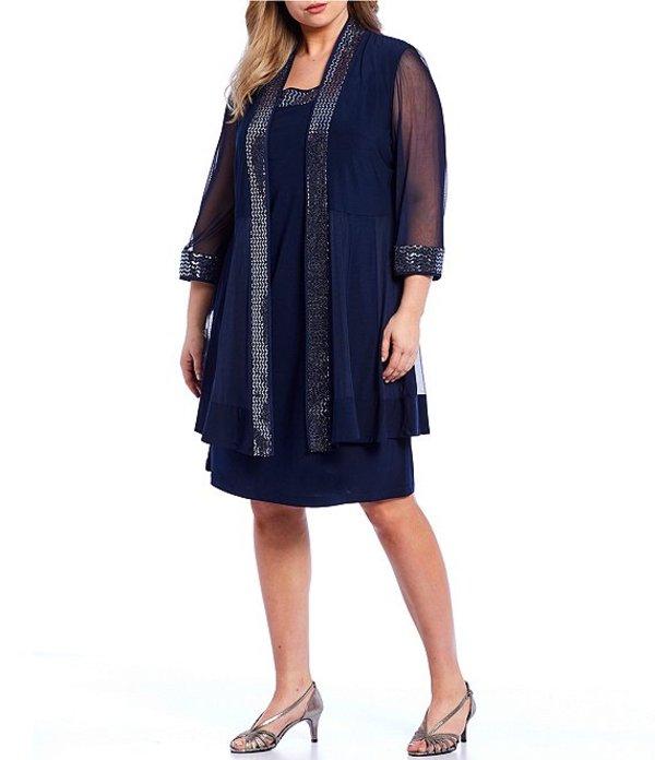アールアンドエムリチャーズ レディース ワンピース トップス Plus Size 2-Piece Metallic Trim 3/4 Sleeve Jacket dress Navy