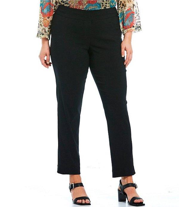 マルチプルズ レディース カジュアルパンツ ボトムス Plus Size Flat Front Straight Leg Pull-On Ankle Pants Black