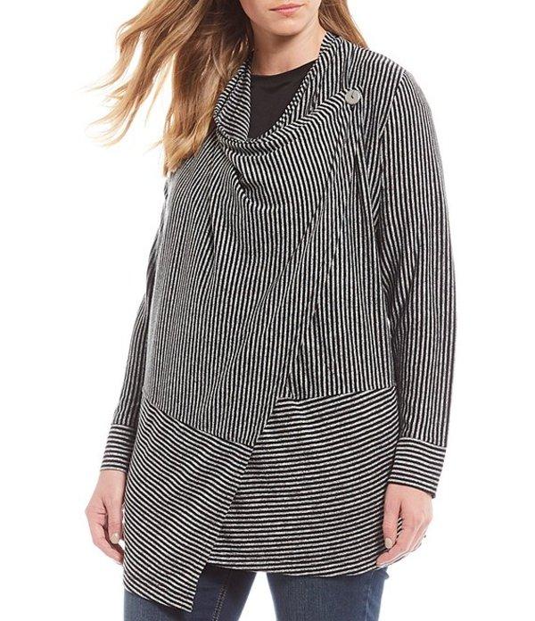 ジョーンズニューヨーク レディース パーカー・スウェット アウター Plus Size Stripe Marl Jersey Convertible Waterfall Front Cardigan Black