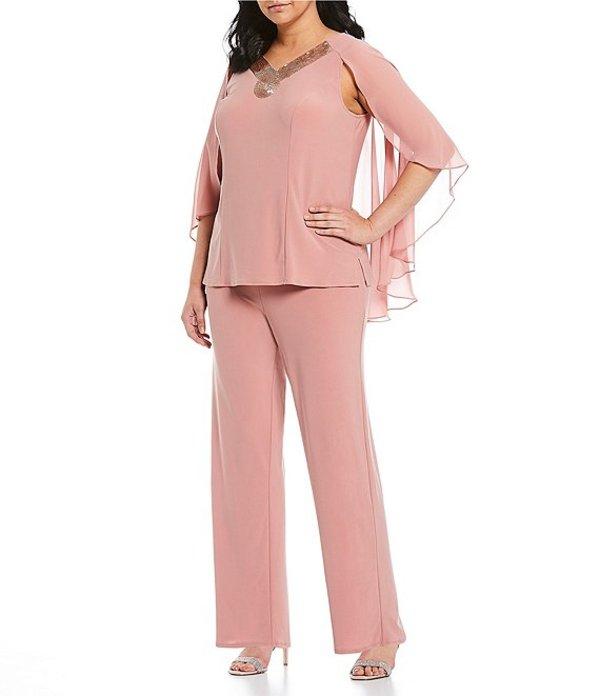 ルボ レディース ワンピース トップス Plus Size Embellished V-Neck Capelet Sleeve 2-Piece Pant Set Rose Gold
