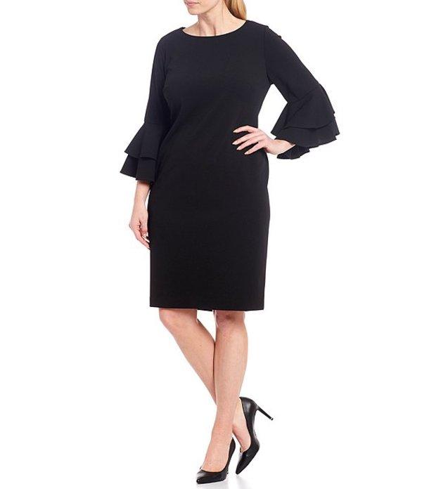 カルバンクライン レディース ワンピース トップス Plus Size Scuba Crepe 3/4 Tiered Bell Sleeve Sheath Dress Black