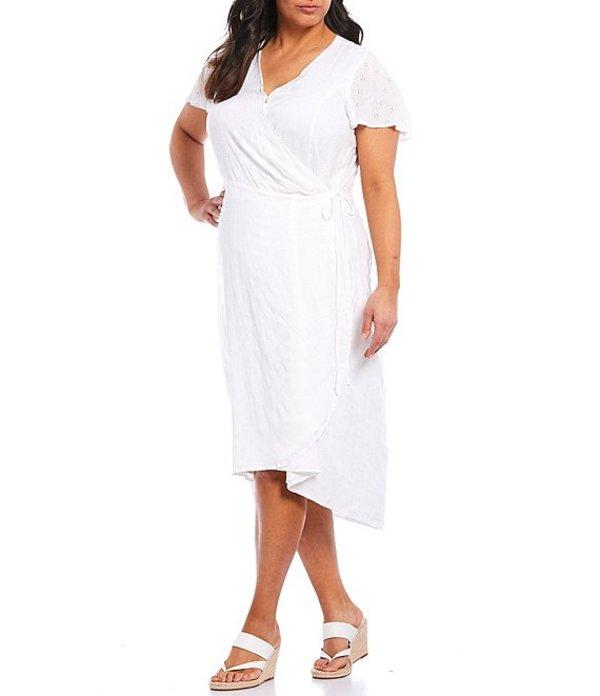 ヴィンスカムート レディース ワンピース トップス Plus Size Short Sleeve Eyelet Lace Wrap Midi Dress New Ivory