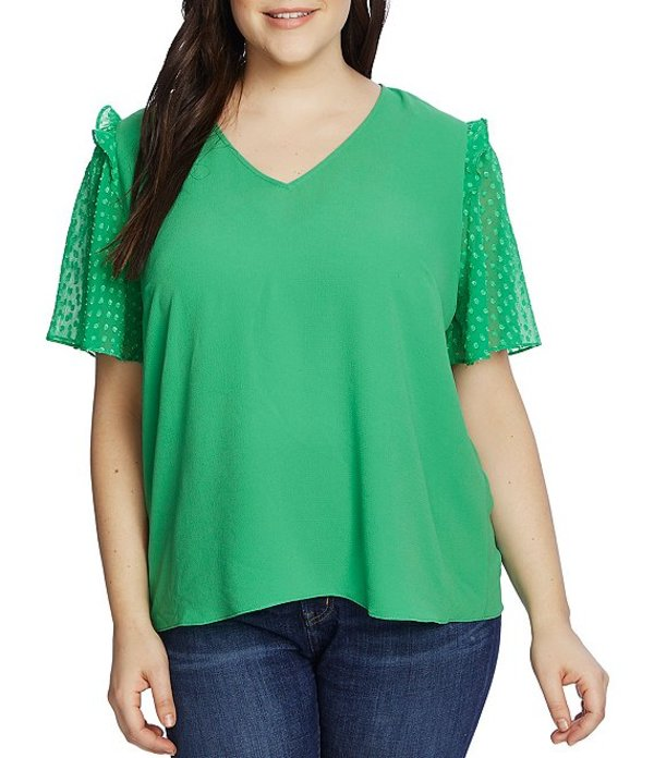 セセ レディース シャツ トップス Plus Size Clip Dot Short Sleeve V-Neck Ruffled Shoulder Blouse Jasmine Green