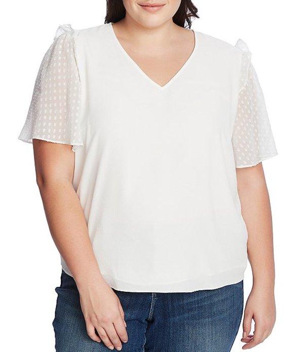 セセ レディース シャツ トップス Plus Size Clip Dot Short Sleeve V-Neck Ruffled Shoulder Blouse Soft Ecru
