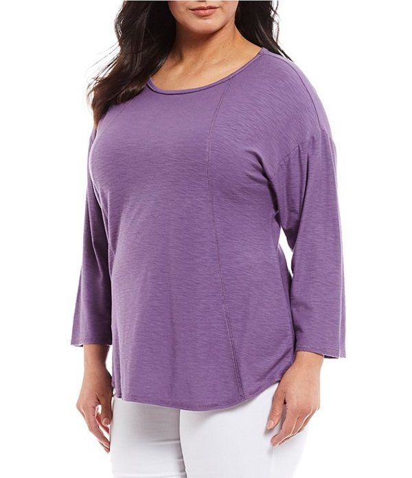 ウエストバウンド レディース Tシャツ トップス Plus Size 3/4 Sleeve Seam Solid Cotton Blend Tee Grape Composite
