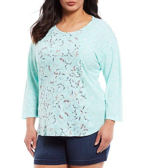 ウエストバウンド レディース Tシャツ トップス Plus Size 3/4 Sleeve Seam Tulip Print Tee Spring Tulips