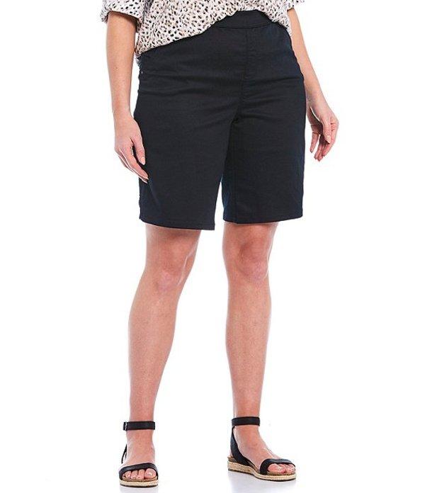 イントロ レディース ハーフパンツ・ショーツ ボトムス Plus Size Rose Tummy Control Pull-On Bermuda Shorts Ebony Black