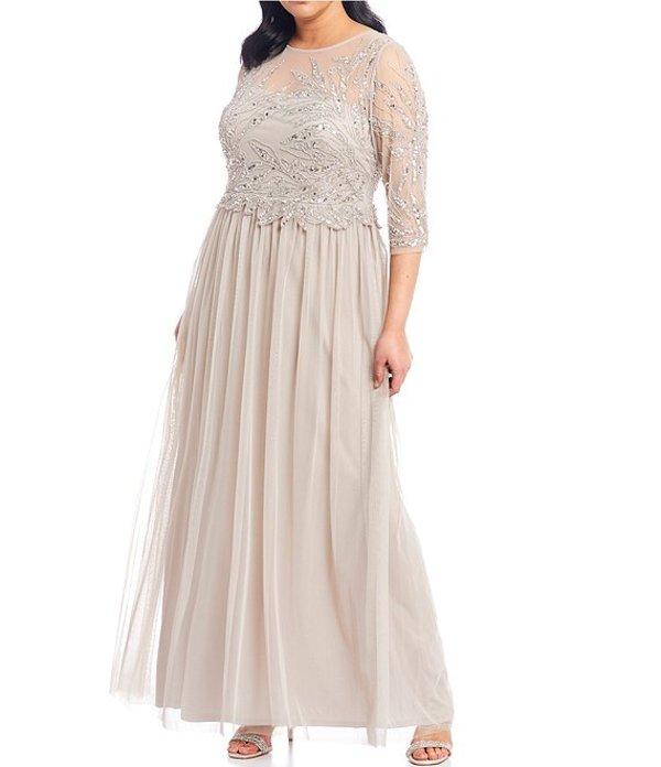 アドリアナ パペル レディース ワンピース トップス Plus Size Beaded Bodice Tulle Skirt Jewel Neck 3/4 Sleeve Gown Marble
