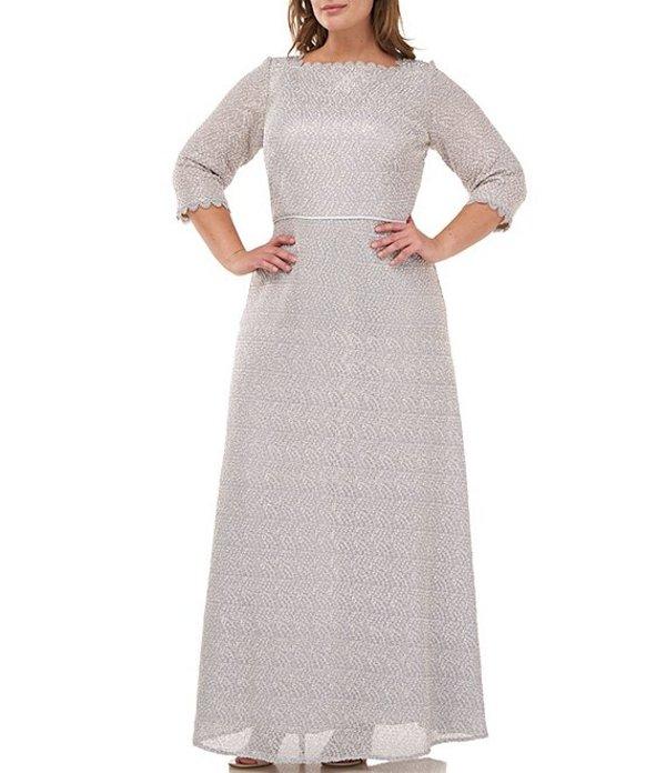 ジェイエスコレクションズ レディース ワンピース トップス Plus Size Metallic Lace 3/4 Sleeve A-Line Gown Silver