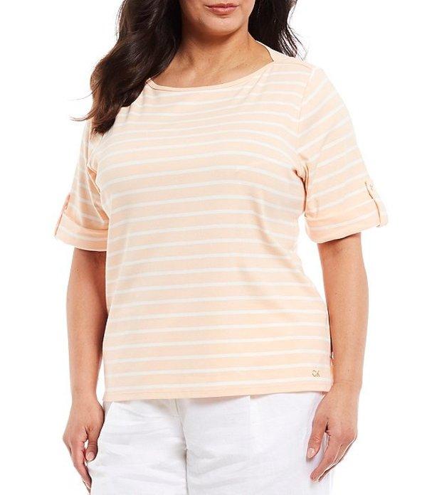 カルバンクライン レディース Tシャツ トップス Plus Size Stripe Print Short Roll-Tab Sleeve Boat Neck Cotton Blend Top Papaya White