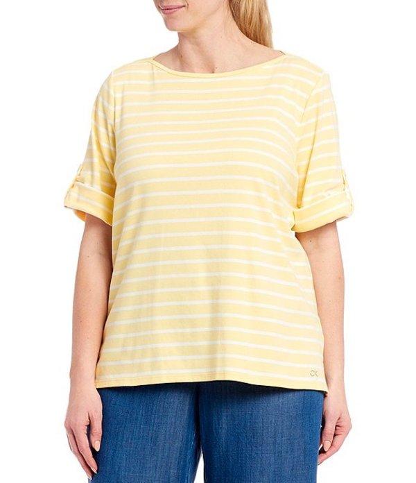 カルバンクライン レディース Tシャツ トップス Plus Size Stripe Print Short Roll-Tab Sleeve Boat Neck Cotton Blend Top Pop White