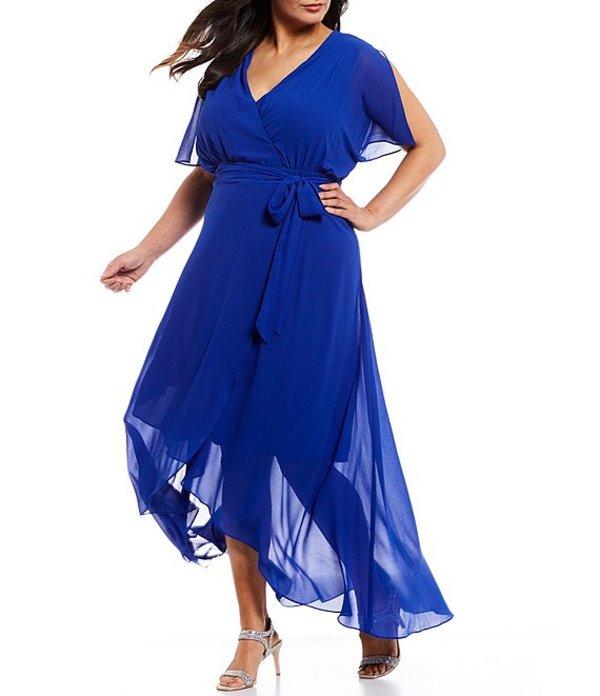 ジェシカハワード レディース ワンピース トップス Plus Size V-Neck Tie Waist Hi-Low Faux Wrap Chiffon Dress Cobalt