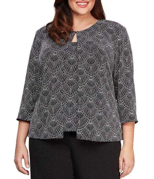アレックスイブニングス レディース ワンピース トップス Plus Size Glitter Knit Printed Twinset Black/White