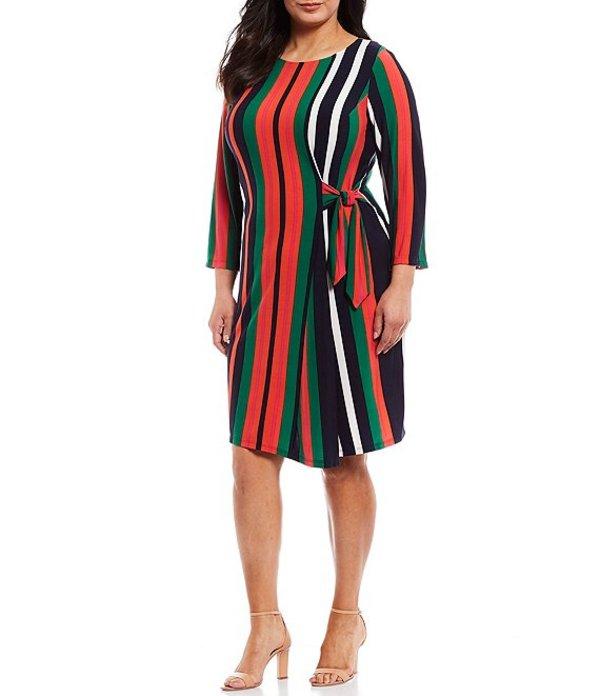 ロンドンタイムス レディース ワンピース トップス Plus Size Striped Side Tie 3/4 Sleeve Shift Dress Green/Orange