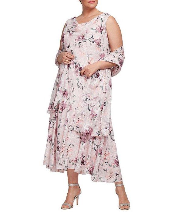 アレックスイブニングス レディース ワンピース トップス Plus Size Burnout Floral Print Sleeveless Midi Dress Blush Multi