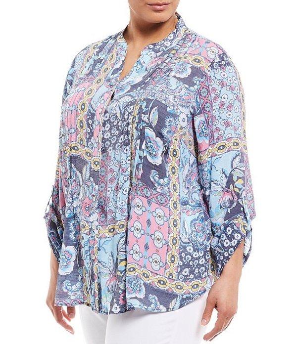 ルビーアールディー レディース シャツ トップス Plus Size Silky Slub Patchwork Print Roll-Tab Sleeve Button Front Pintuck Top Navy Multi