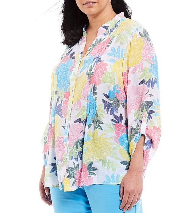 ルビーアールディー レディース シャツ トップス Plus Size Bloom Print Roll-Tab Sleeve Button Front Pintuck Top Azalea Multi
