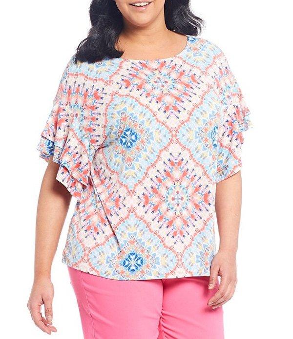 ルビーアールディー レディース Tシャツ トップス Plus Size Knit Capri Kaleidoscope Print Ballet Neck Ruffle Elbow Sleeve Top Geranium Multi