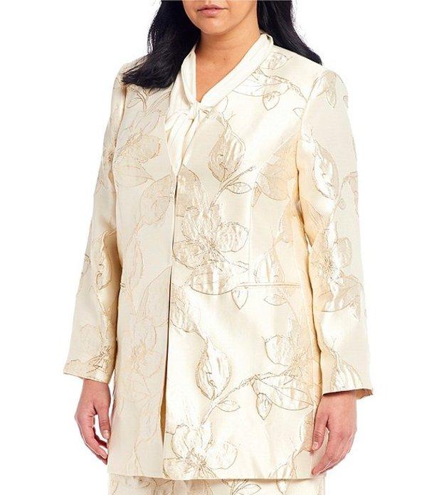 タハリエーエスエル レディース ジャケット・ブルゾン アウター Plus Size Long Sleeve Floral Metallic Jacquard Open Topper Gold Nuetral Floral