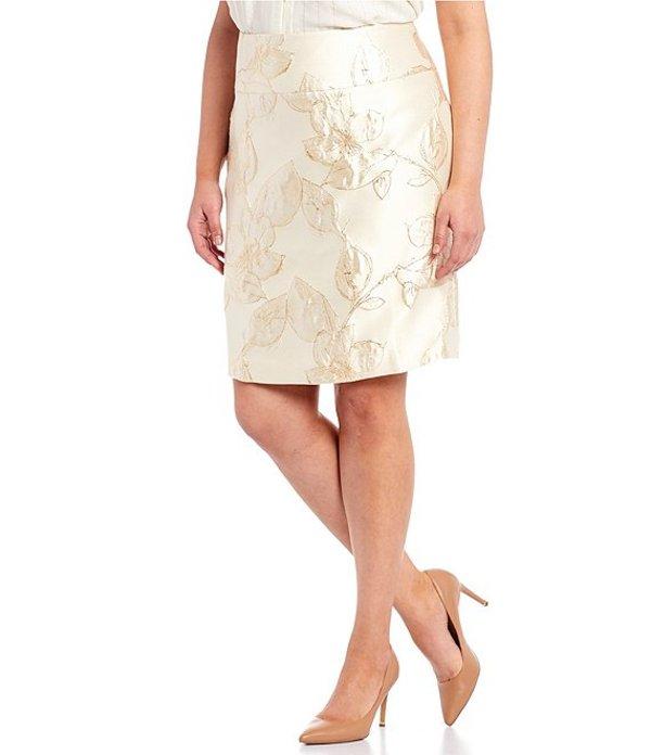 タハリエーエスエル レディース スカート ボトムス Plus Size Floral Metallic Jacquard A-Line Skirt Gold Neutral Floral