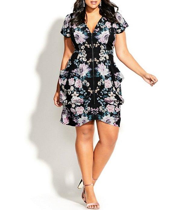 シティーシック レディース ワンピース トップス Plus Size Mirrored Bloom Floral Print Zip Front Dress Black and Pink Floral Print