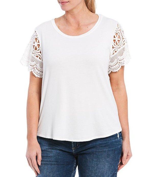 モアモア レディース Tシャツ トップス Plus Size Short Crochet Sleeve Tee Ivory