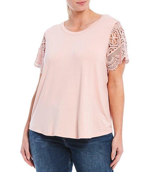 モアモア レディース Tシャツ トップス Plus Size Short Crochet Sleeve Tee Light Pink