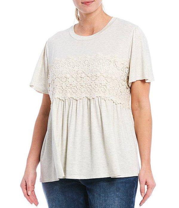 モアモア レディース Tシャツ トップス Plus Size Crochet Trim Short Sleeve Babydoll Top Oatmeal