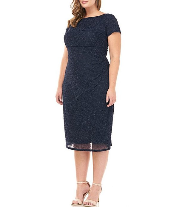 ジェイエスコレクションズ レディース ワンピース トップス Plus Size Beaded Mesh Boat Neck Short Sleeve Sheath Dress Navy