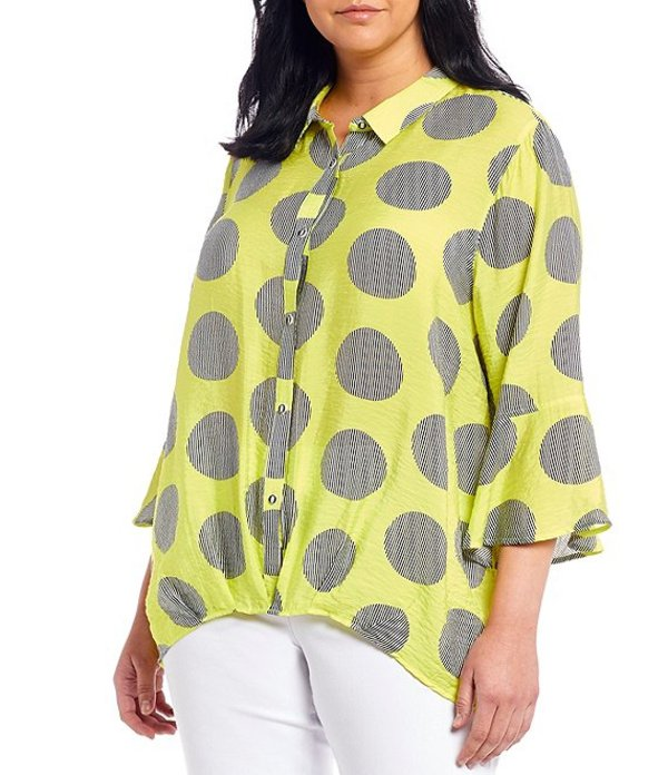 マルチプルズ レディース シャツ トップス Plus Size Oversized Polka Dot Print 3/4 Bell Sleeve Button Down Shirt Multi