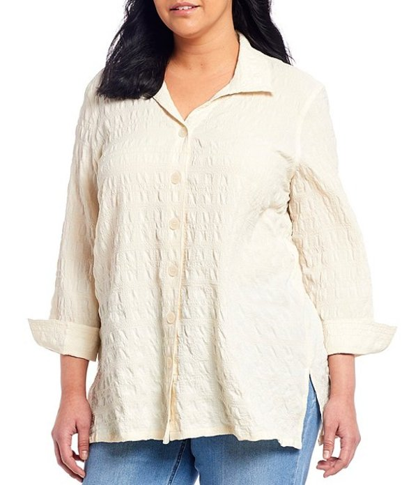 マルチプルズ レディース シャツ トップス Plus Size Solid Crinkle Gauze Button Down 3/4 Sleeve Swing Shirt Ivory