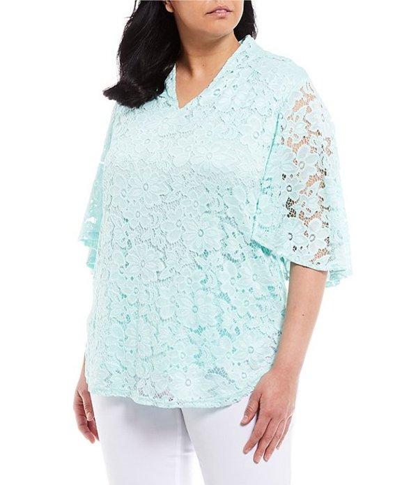 インベストメンツ レディース Tシャツ トップス Plus Size Short Sleeve V-Neck Lace Top Light Aqua