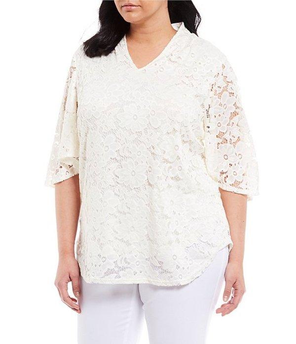 インベストメンツ レディース Tシャツ トップス Plus Size Short Sleeve V-Neck Lace Top Soft White